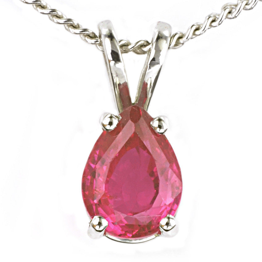 9ct White Gold Ruby Pendant