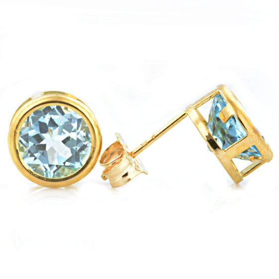 9ct Yellow Gold Blue Topaz Ear Studs