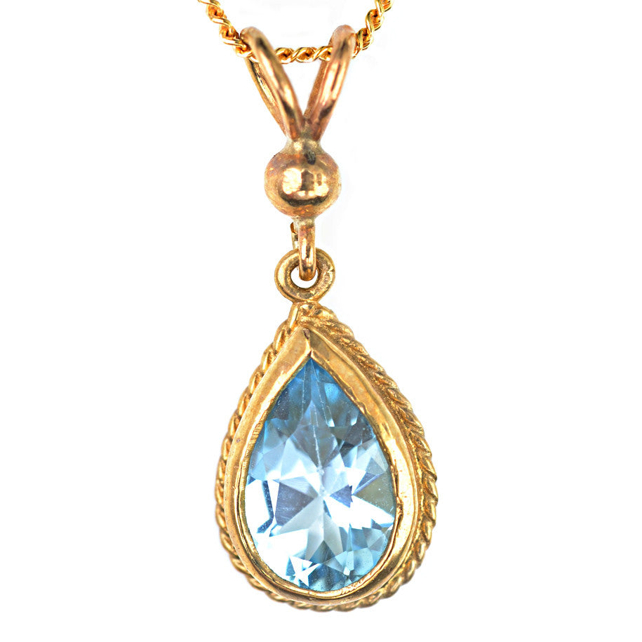 9ct Yellow Gold Rope Edged Blue Topaz Pendant