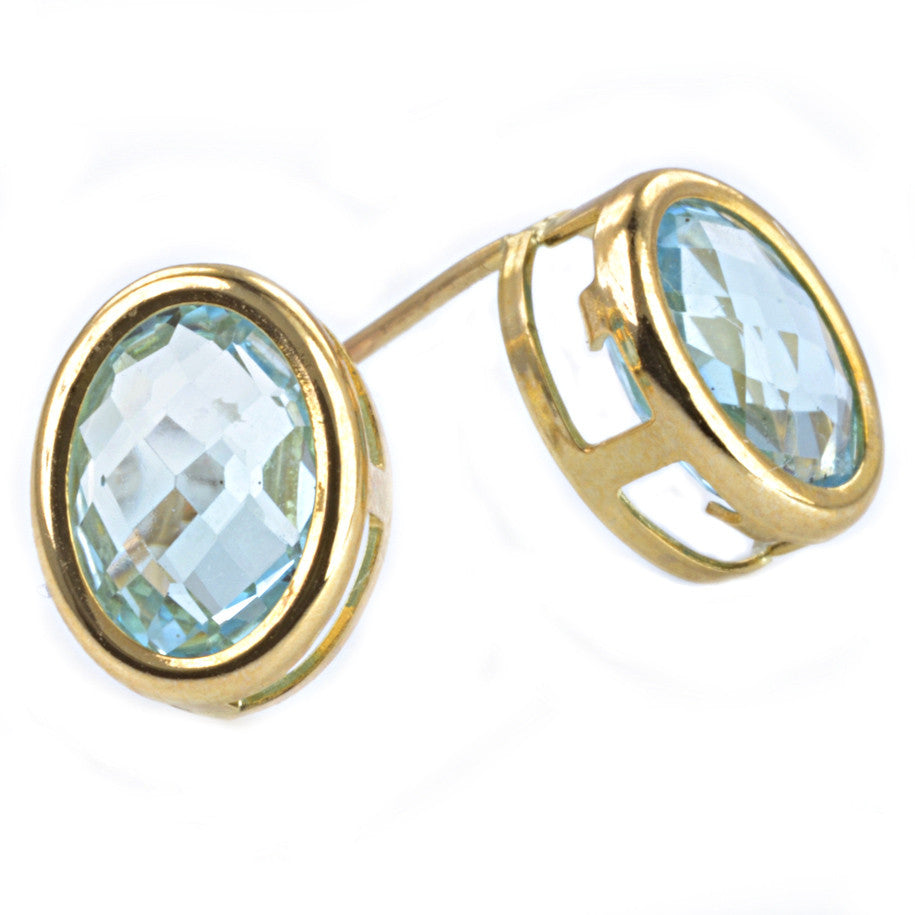 9ct Yellow Gold Pineapple Cut Blue Topaz Ear Studs