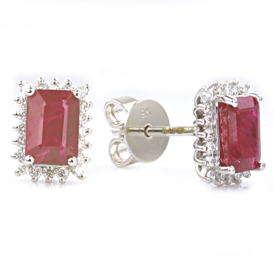 9ct White Gold Ruby and Diamond Cluster Ear Studs