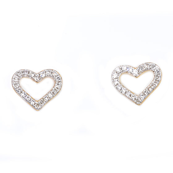 9ct Yellow and White Gold Diamond Set Studs