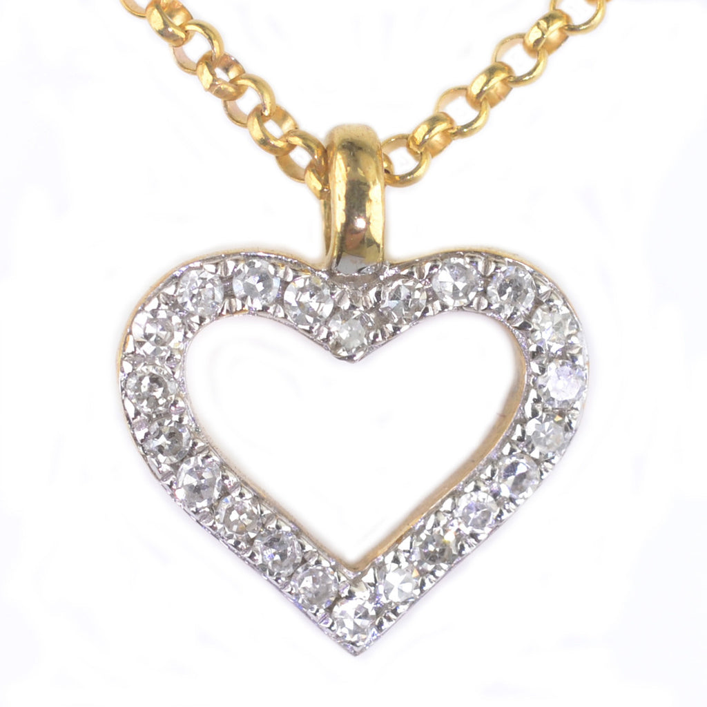 9ct Yellow and White Gold Diamond Set Pendant