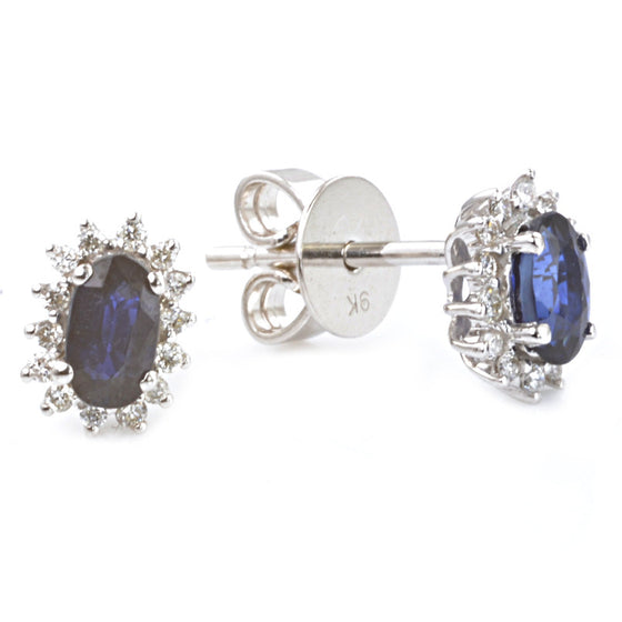 9ct White Gold Blue Sapphire and Diamond Custer Earrings