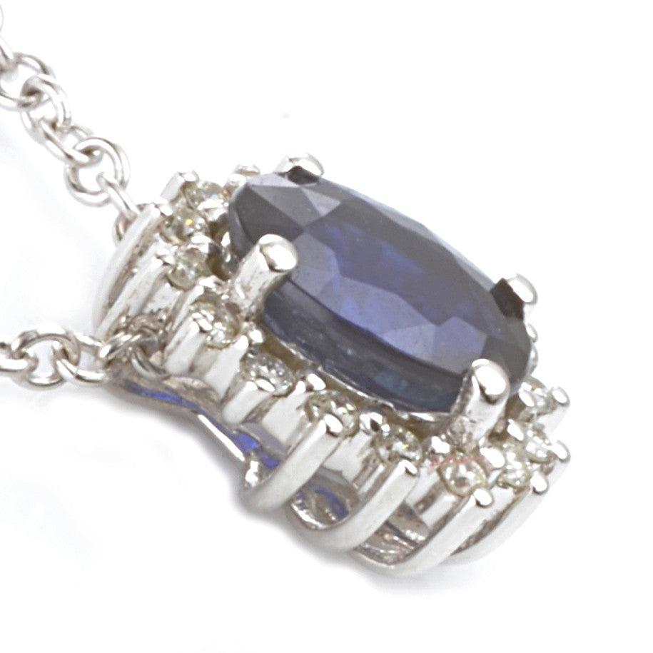9ct White Gold Sapphire and Diamond Cluster Pendant