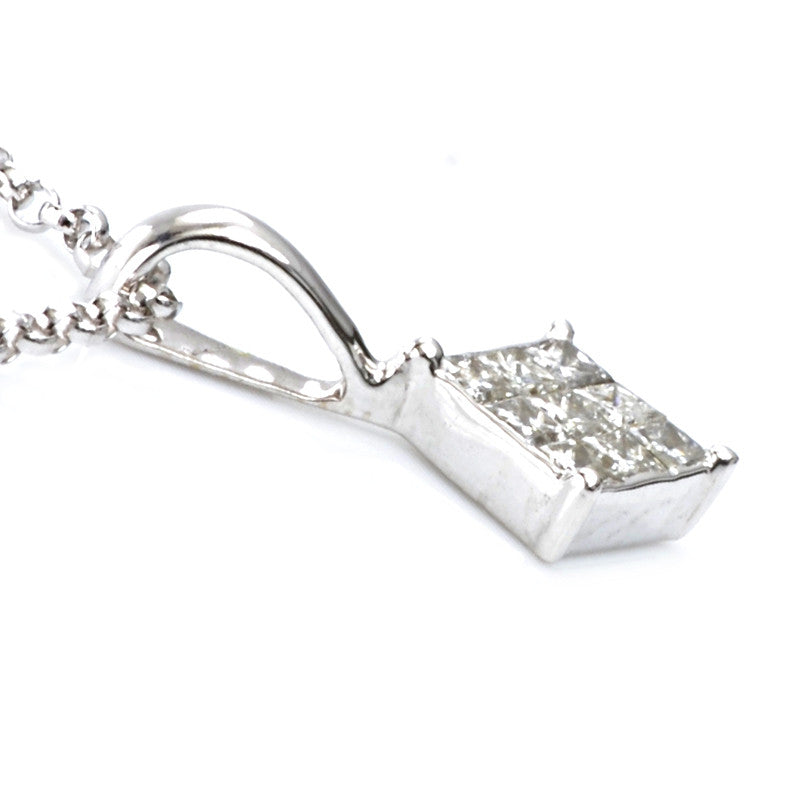 9ct White Gold Diamond Pendant