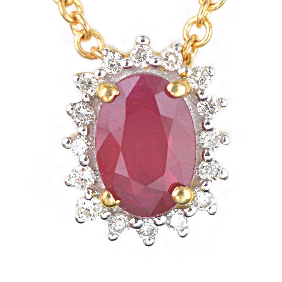 9ct Yellow Gold Ruby and Diamond Cluster Pendant