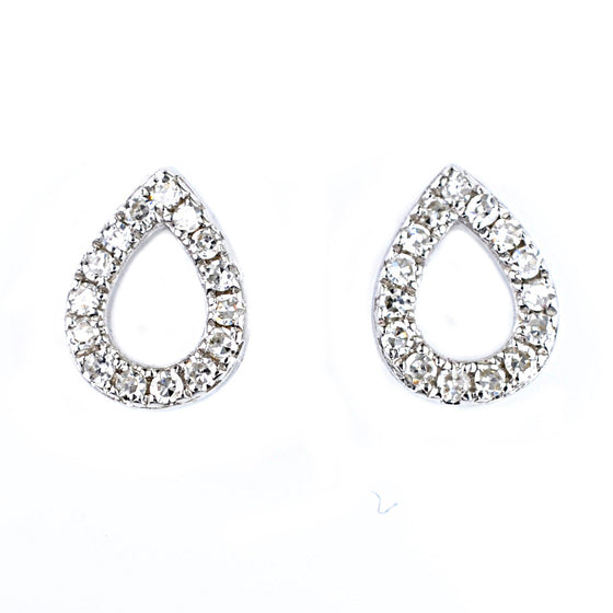 9ct White Gold Diamond Set Earrings