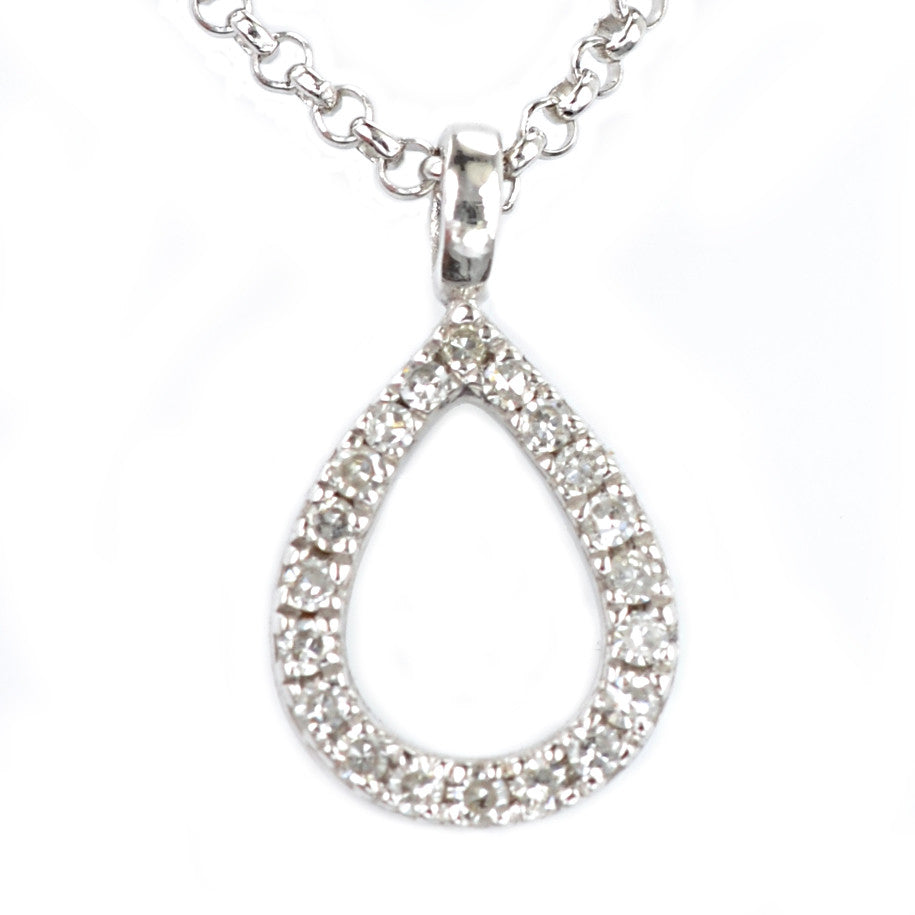 9ct White Gold Diamond Set Pendant