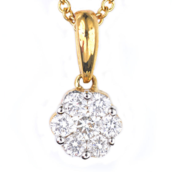 18ct Yellow Gold Diamond Cluster Pendant