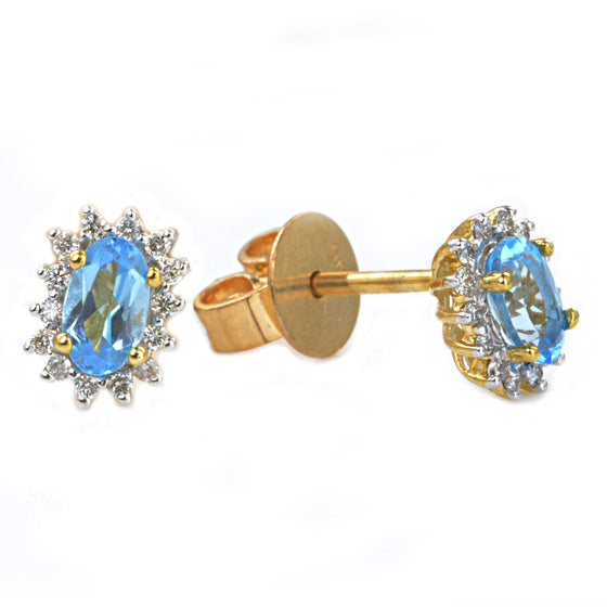 9ct Yellow and White Gold Blue Topaz and Diamond Cluster Earrings