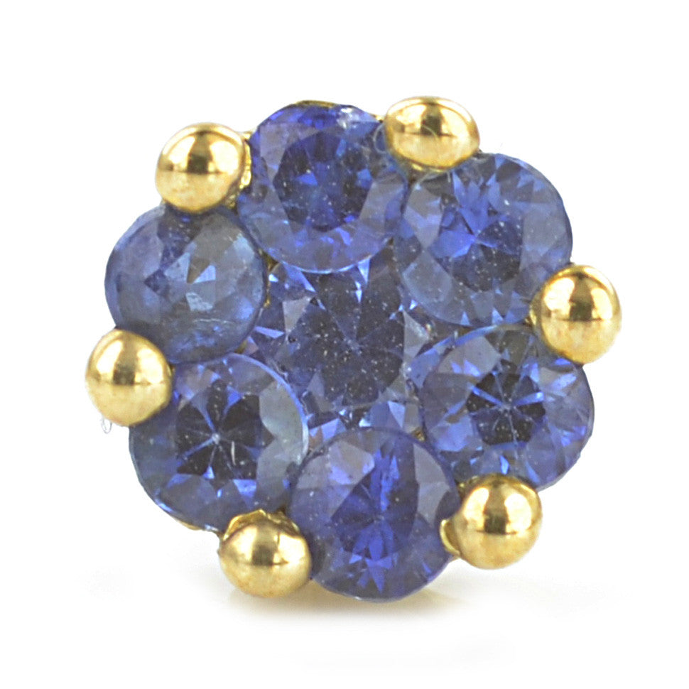 9ct Yellow Gold Sapphire Cluster Earrings