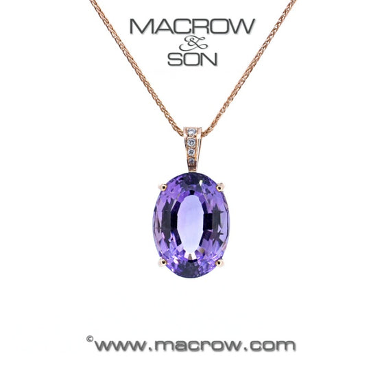 9ct Rose old Amethyst & Diamond Pendant