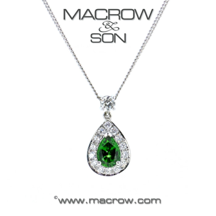 18ct White Gold Chrome Diopside Toumaline & Diamond Pendant