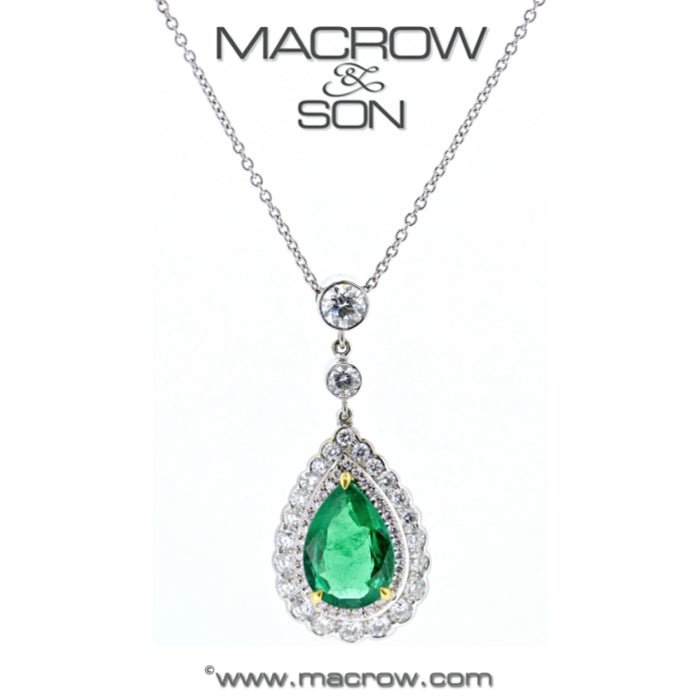 18ct White Gold Emerald & Diamond Pendant