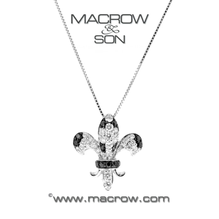 18ct White Gold Diamond set 'Fleur de Lis' Pendant