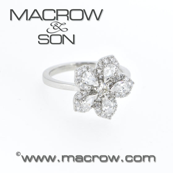 Platinum Diamond Set Flower Ring