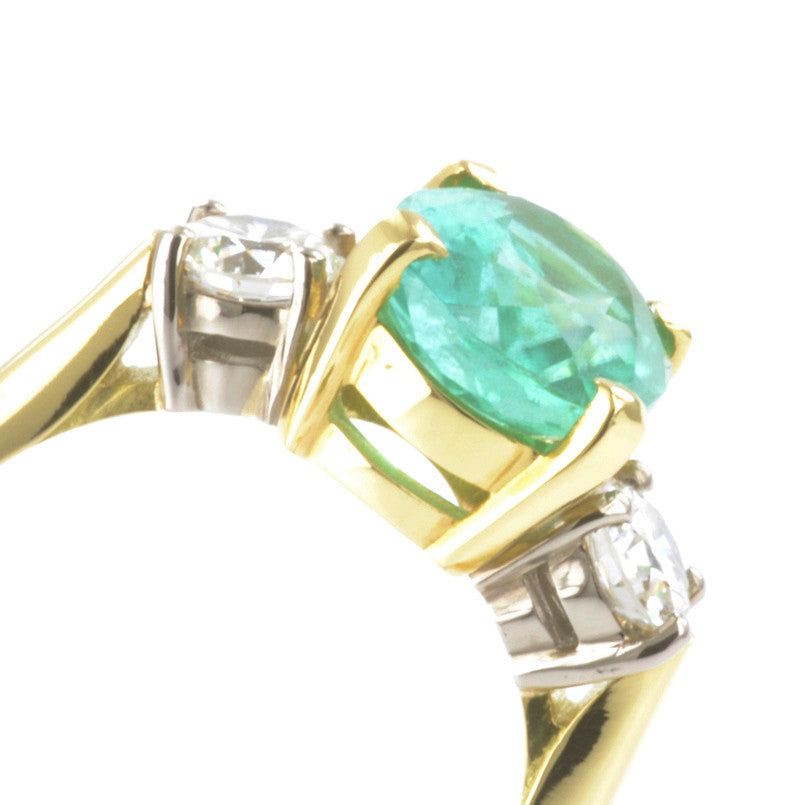 18ct Yellow and White Gold Mozambique Tourmaline and Diamond Ring