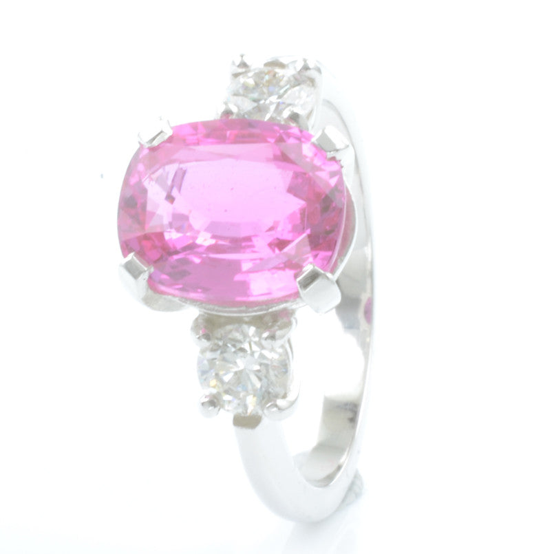 Platinum 4.09ct Pink Sapphire and Diamond Trilogy Ring