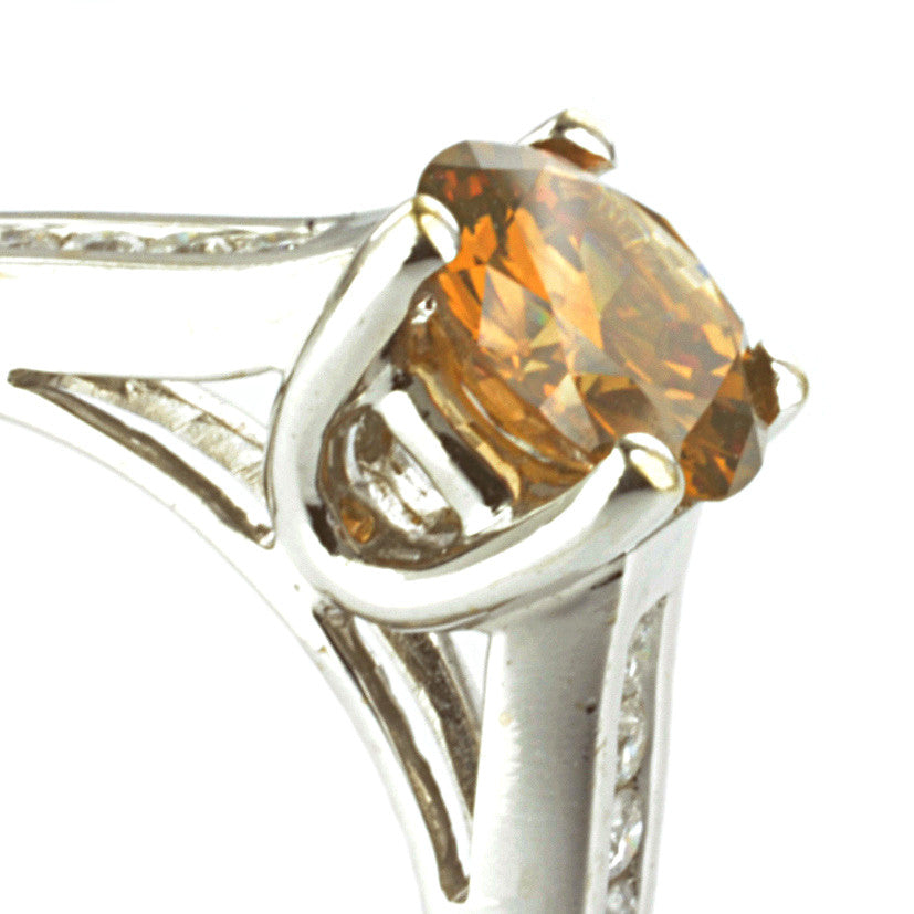 18ct White Gold Brown/Orange Diamond Ring