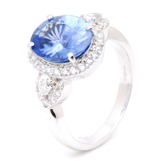18ct White Gold Sri Lanken Blue Sapphire and Diamond Ring
