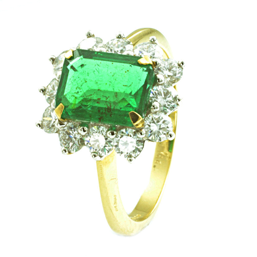 18ct Yellow and White Gold Emerald and Diamond Cluster Ring