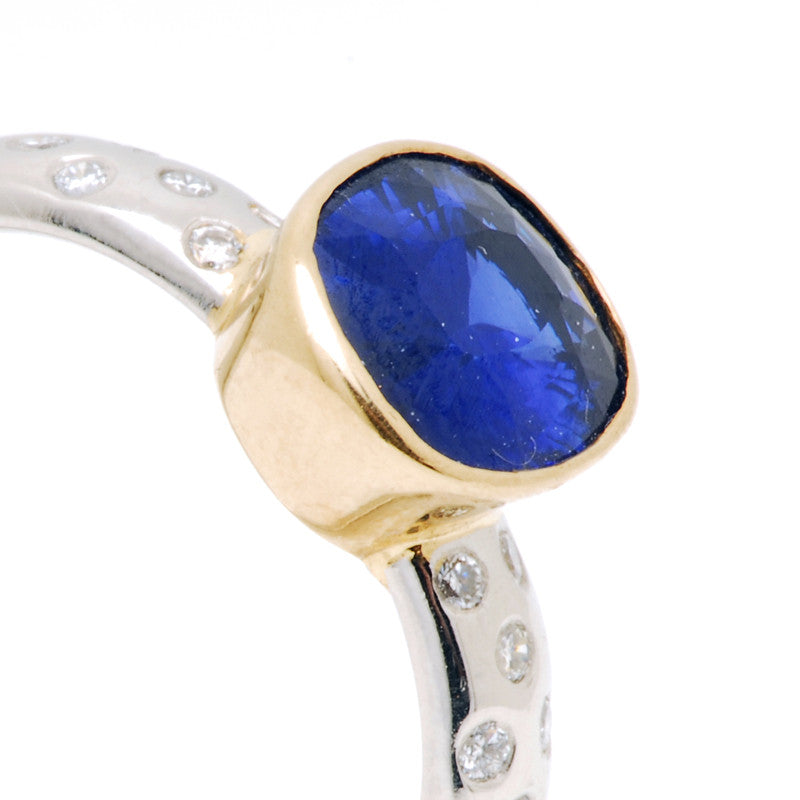 Platinum and 18ct Yellow Gold Sapphire and Diamond Ring