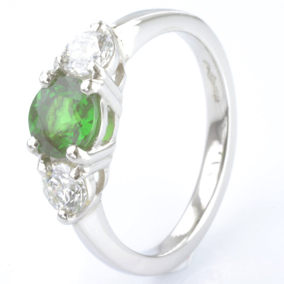 Platinum Tsavorite Garnet and Diamond Trilogy Ring