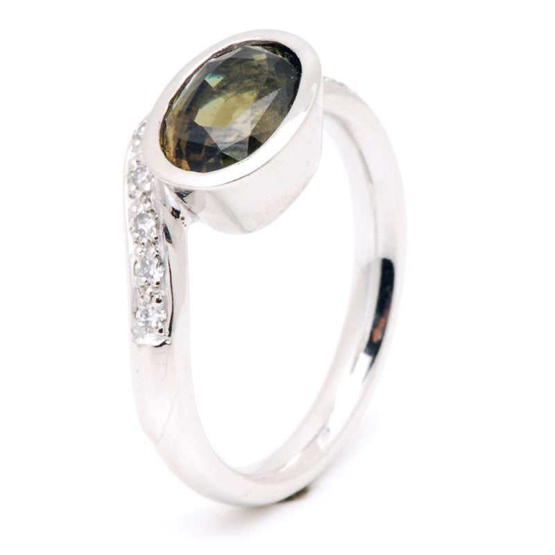 Platinum and Indian Alexandrite and Diamond Ring