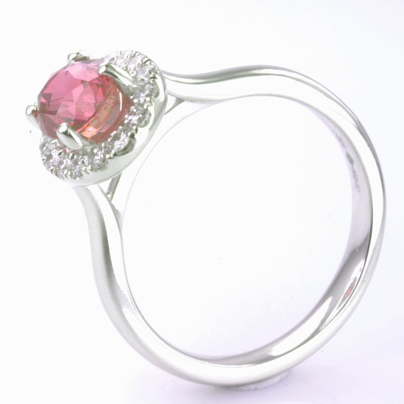 Platinum Pink Sapphire and Diamond Cluster