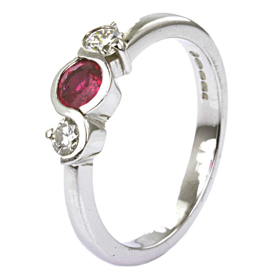 18ct White Gold Ruby and Diamond Trilogy Ring