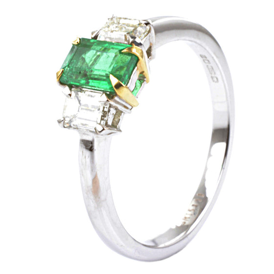 18ct White Gold Emerald and Diamond Trilogy Ring