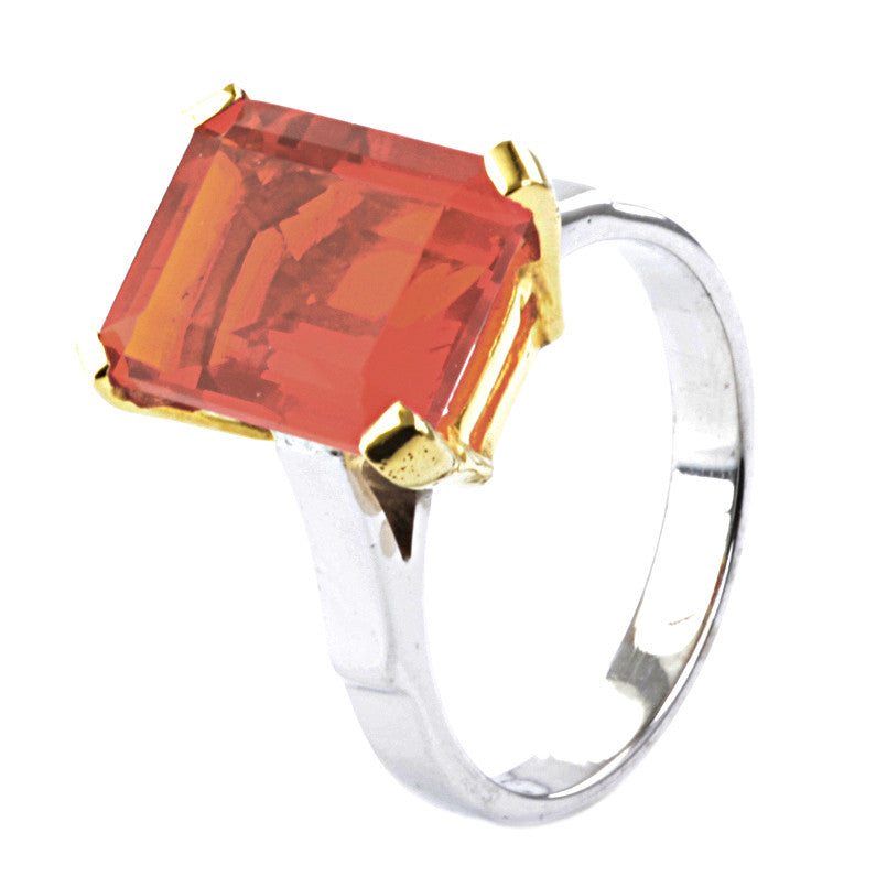 18ct White and Yellow Gold Mexican Fire Opal Ring