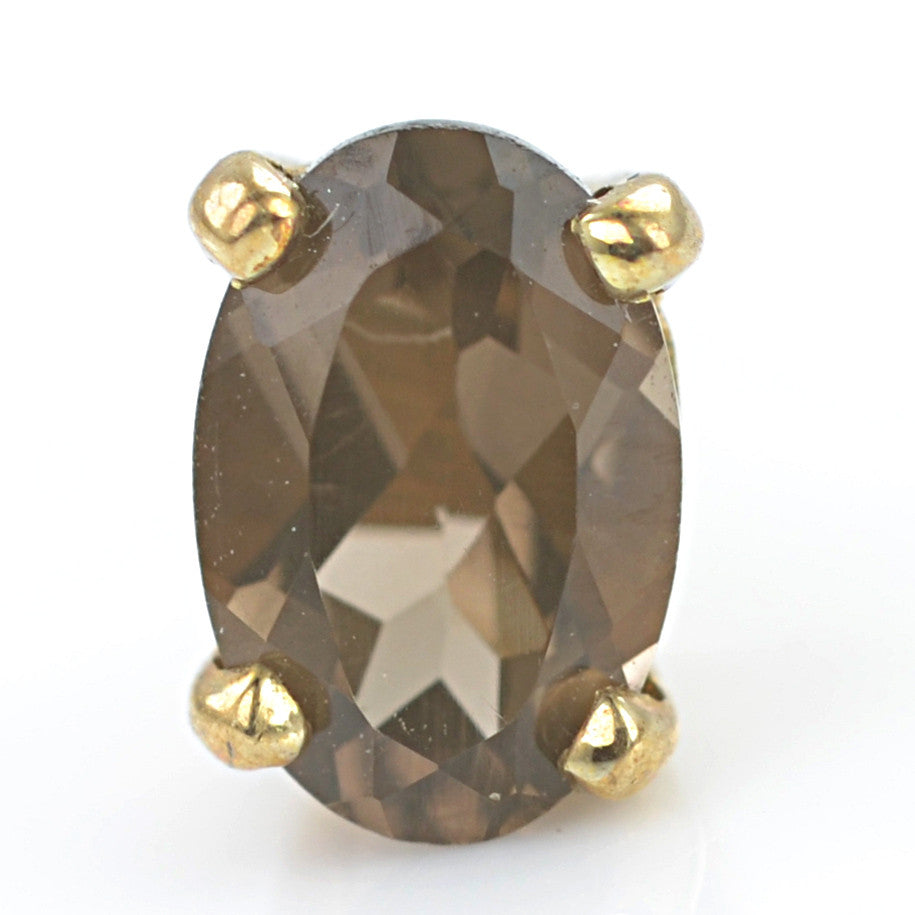 9ct Yellow Gold Smokey Quartz Ear Studs
