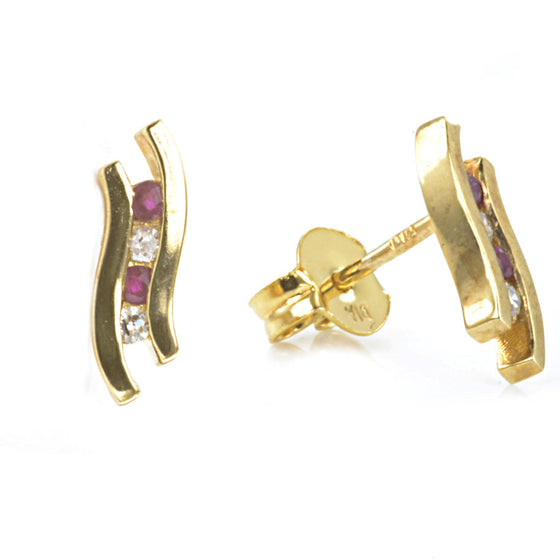 9ct Yellow Gold Ruby and Diamond Ear Studs