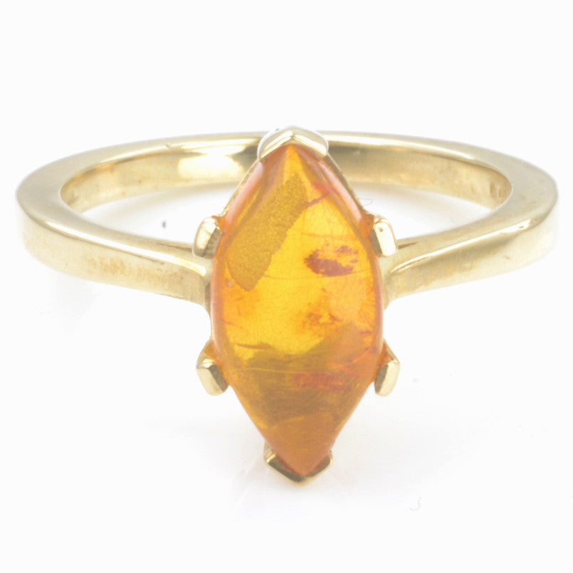 9ct Yellow Gold Marquise Amber Ring