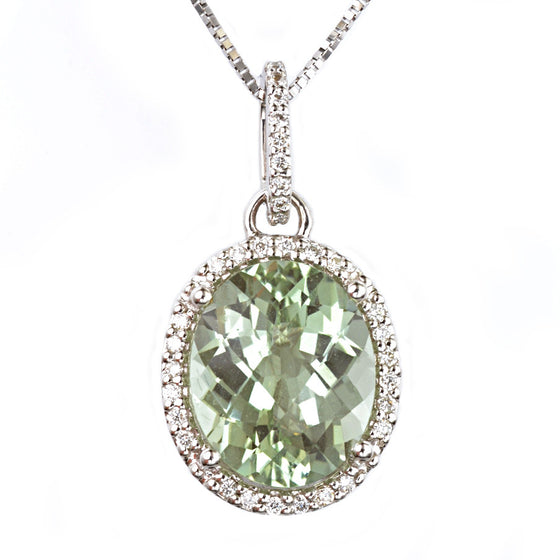 18ct White Gold Sea Green Amethyst and Diamond Pendant