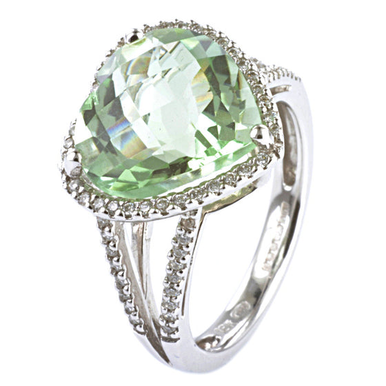 18ct White Gold Green Amethyst and Diamond Cluster Ring