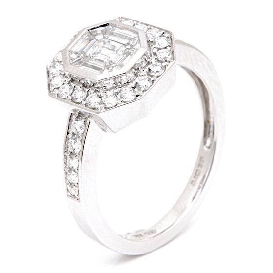 18ct White Gold Mixed Cut Diamond Cluster Ring