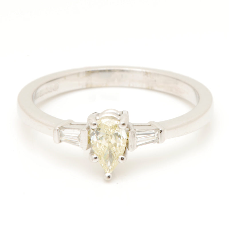 18ct White Gold Natural Yelow Pear Shaped Diamond Ring