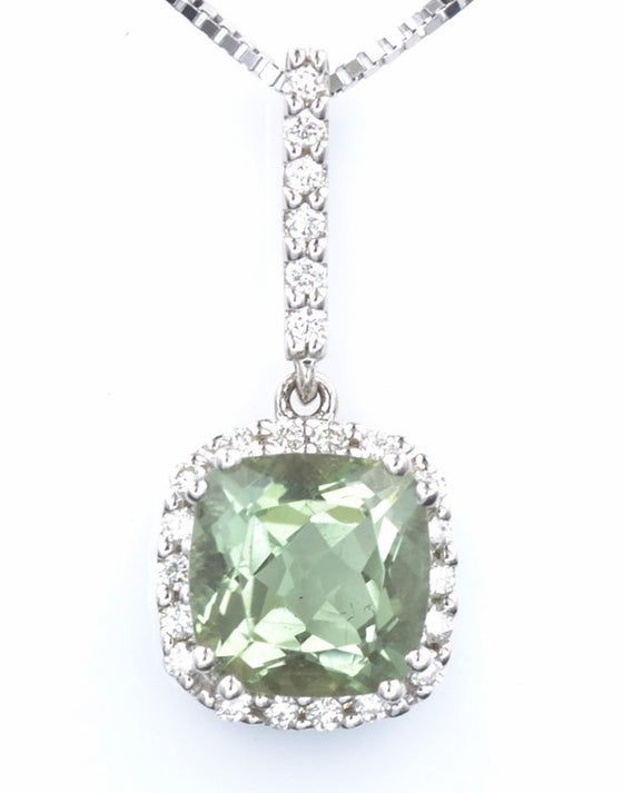 18ct White Gold Green Amethyst and Diamond Pendant
