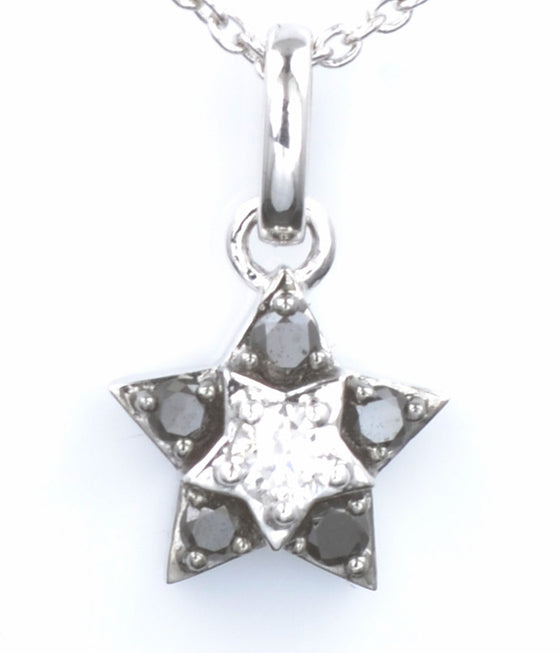 18ct White Gold Black and White Gold Diamond Star Pendant