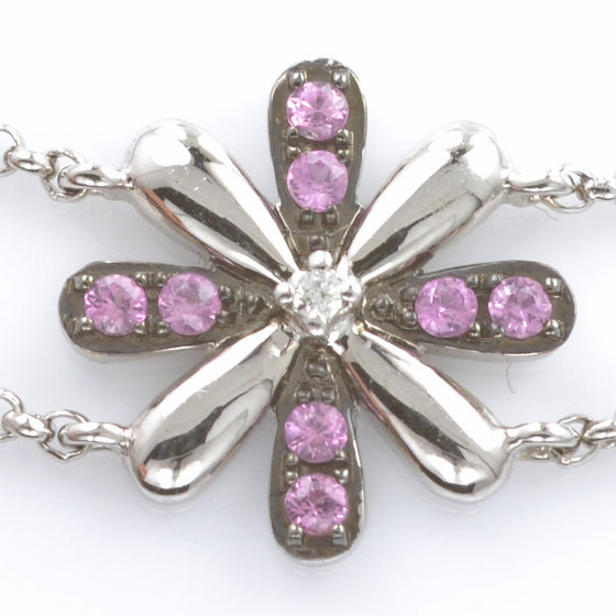 18ct White Gold Pink Sapphire and Diamond Bracelet