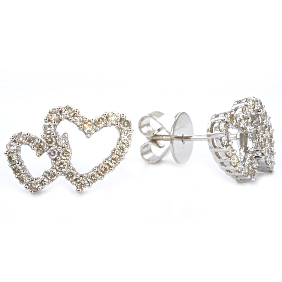 18ct White Gold Diamond Heart Studs