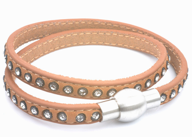 Tan Leather and Crystal Bracelet