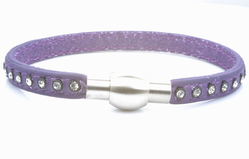 Purple Leather and Crystal Bracelet