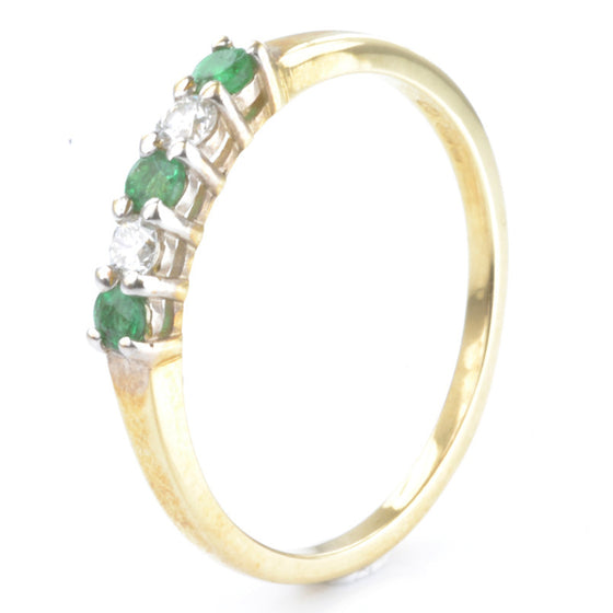 9ct Yellow Gold Emerald and Diamond Half Eternity
