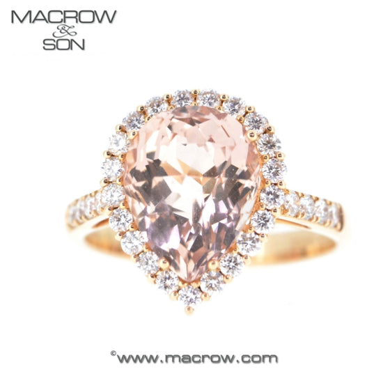 18ct Rose Gold Morganite & Diamond Cluster Ring