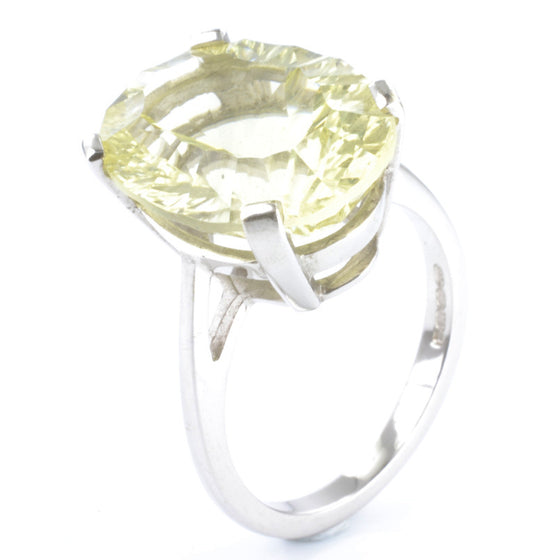 9ct White Gold Lemon Quartz Solitaire