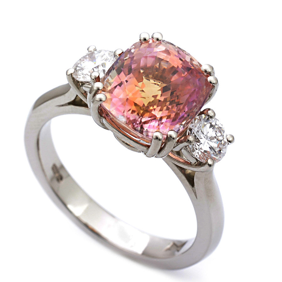 Platinum Padparadscha Sapphire and Diamond Trilogy Ring